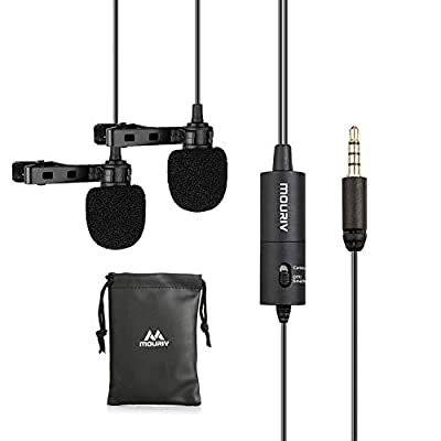 Dual Lavalier Microphone, Mouriv CM202 Hands Free Clip-on Lapel Mic with Omnidirectional Condenser for Camera,DSLR, Android, Smartphone, Tablet, Pad, PC, Laptop, Computer