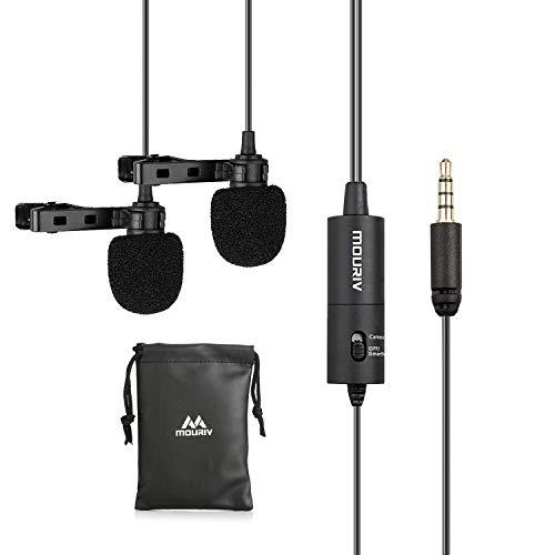 Microfono Lavalier Dual-head, Mouriv Microfono Lapel a mani libere con microfono a condensatore omnidirezionale per iPhone X 8 7 6, iPad, Samsung, smartphone tablet Android, fotocamera, DSLR, PC
