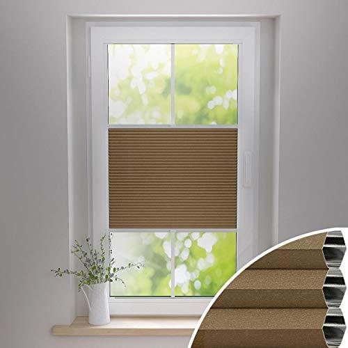 Gardinen21 Thermo Wabenplissee ohne Bohren | Waben-Plissee Klemmfix | Plissee 105x100 für Türen & Fenster | Sonnenschutz, Sichtschutz, Schallschutz, 100% Verdunkelung