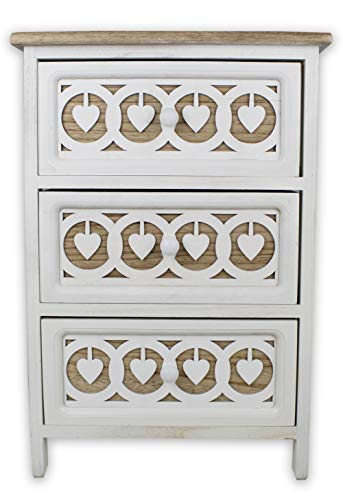 Tata Home Mobiletto Comodino da Bagno Camera o Ingresso 3 Cassetti in Legno Bianco con Cuori Stile Shabby Chic Dimensioni 40x29x58 cm MOD. Sebastian