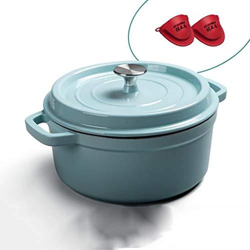 ZCXZY Dutch Oven/Auflaufform 24cm Gusseisen Emaille-Topf Natürlich Nicht klebrig und leicht zu reinigen 3 Farben (Color : Blue)
