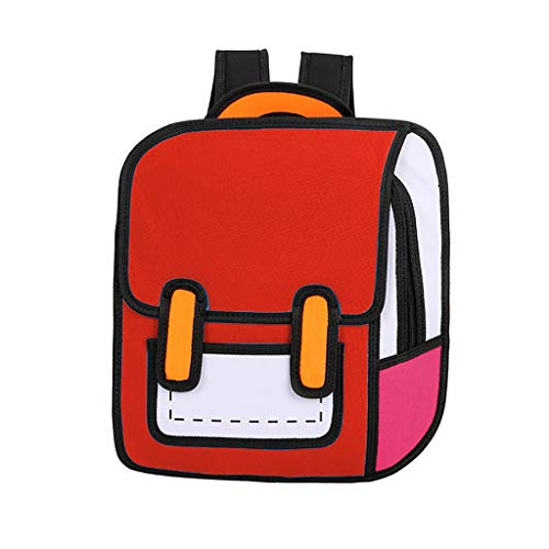 3D Jump Style Drawing from Cartoon Paper Comic Backpack School Shoulder Bag Handbag Casual Daypack Bookbag for Kid Girl Women Men