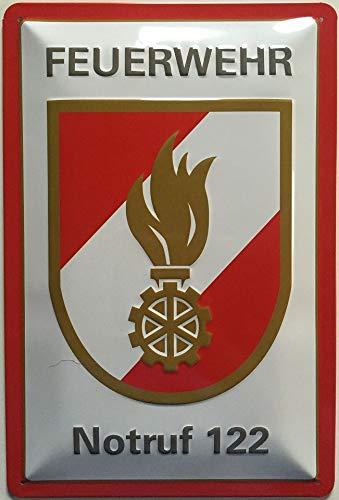 Deko7 Blechschild 30 x 20 cm Feuerwehr Logo Notruf 122