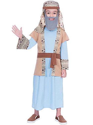amscan-Juego de Disfraz de Pastor Infantil, 7-8 aos, 2 Piezas, Color Azul/Beige, (9904066)