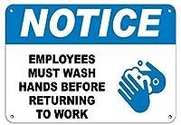 従業員が仕事に戻る前に手を洗う必要があります