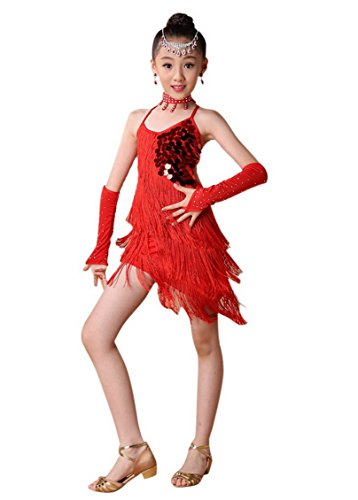 Happy Cherry - Vestido Latino Tango Niña Traje de Baile Flecos y Lentejuelas con Manguitos y Collar para Actuación Ceremonia - 150cm 11-12 años - Rojo