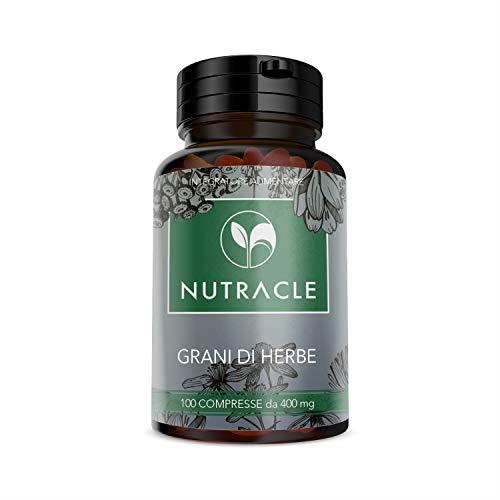 NUTRACLE - 100 Körner von Kräutertabletten 400 mg   gegen Verstopfung, fördert die normale Darmtätigkeit   hilft Verdauung   auf der Basis von Weine, Aloe, Rhabarber, Erdbeere, Pflaume.
