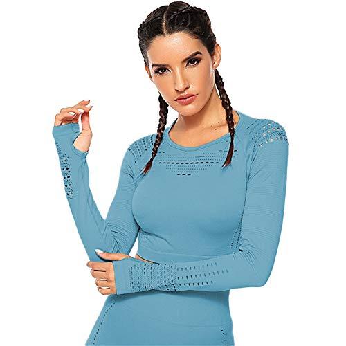 SotRong Damen-Shirt, modisch, mit Lochmuster, für Workout, Fitness-Studio, langärmliges Yoga-T-Shirt, sportliches Outfit Gr. Asiatisch Small, blau