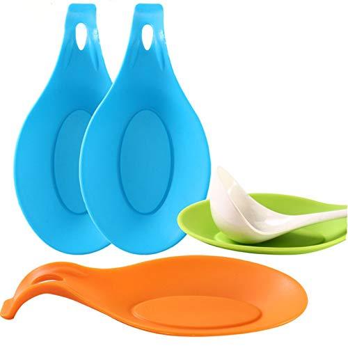 ERMAKOVA Küche Hitzebeständige Flexible Silikon Aluminium-förmigen Löffel Löffel Halter Rest Utensilienhalter Spachtel Werkzeug