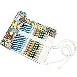 STOBOK 48 Slots Canvas Buntstift papel bolsa gran cara gato modelo Stifthalter Set para niños y adultos