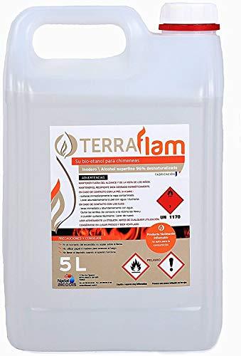 Bioetanol Envio 24Horas 4X5Li Bioetanol Terraflam para lámparas y chimeneas transparente Combustión alta calidad, no humos ni olores