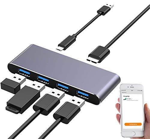Xystec Wireless USB Hub: WLAN-USB-3.0-Hub mit 4 einzeln schaltbaren Ports, App, Sprachsteuerung (WiFi USB Hub)