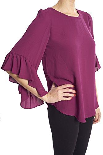 Joseph Ribkoff Violet Long Hem Chiffon Blouse Top Style 173262 Size 4