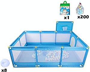 Playpens Large Baby Play Yard with Basketball Hoop and Balls  Indoor Foldable Oxford Mesh Protective Fence  Portable Kids Safety Activity Centre  Blue  color With Crawling Mat
