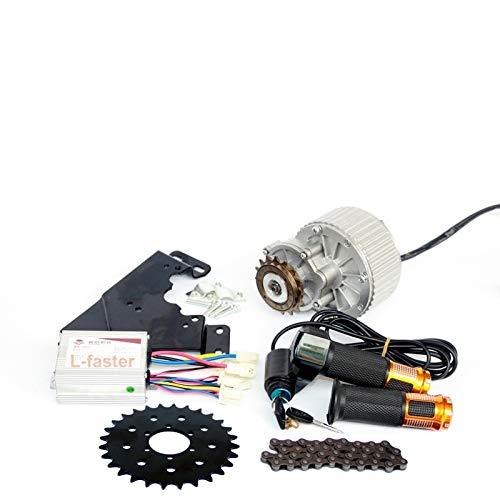 L-faster 24V36V 450W Juego de conversión de Bicicleta para el Rotor del Freno de Disco Montaje del Lado Izquierdo Kit de Motor de Bicicleta con Acelerador de Pulgar (36V Twist Kit 28T+46)