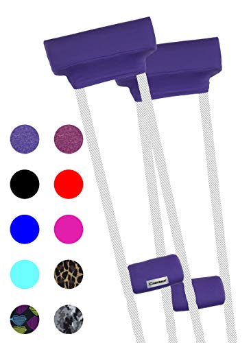 Crutcheze Sport Purple Crutch Pads Covers with Comfortable Arm and Hand Cushions Designer Fashion Accessories for Underarm Crutches Made in USA