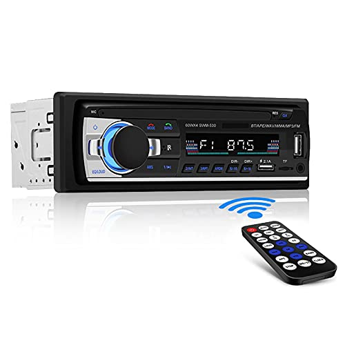 Andven Autoradio Bluetooth, 4x60W Auto Stereo Audio Ricevitore per Autoradio Universale 1 Din, Supporto AUX/TF/Dual USB/Telecomando