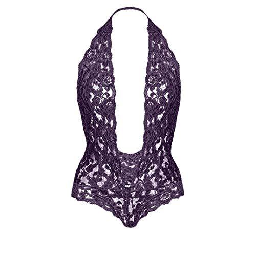 SEHJLHR Frauen-reizvolle Wäsche heiß Plus Größe Perspective Lace Sex Teddy Kleid Unterwäsche Halter Porno Sex Babydoll Kostüme Purple M