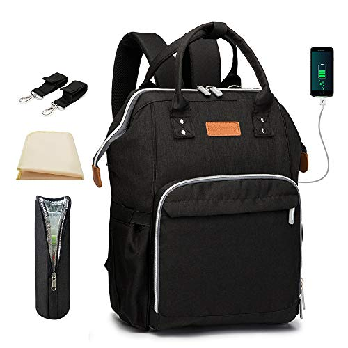 Baby Changing Bag Backpack Black with Changing Mat and USB Port and Buggy Clips, Maydolly Waterproof Maternity Diaper Bag Nappy Backpacks Large Travel Bag for Men and Women
