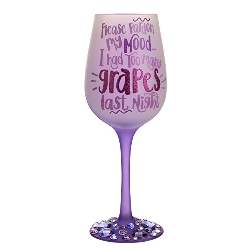 """Top Shelf Funny """"Please Pardon My Mood"""" Purple Frosted Wine Glass ; Humorous Gift Ideas For Wine Enthusiasts ; Unique Red or White Wine Glass for Friends and Family"""