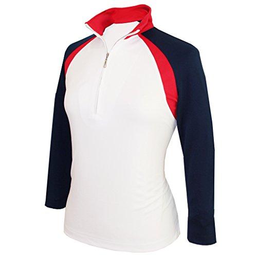 Monterey Club Women's Double Color Block Zip Mock Top 3/4 Sleeve #2357 (White/Navy/Red, Medium)