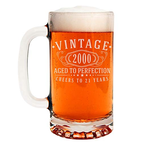 Vintage 2000 Etched 16oz Glass Beer Mug - 21st Birthday Aged to Perfection - 21 years old gifts