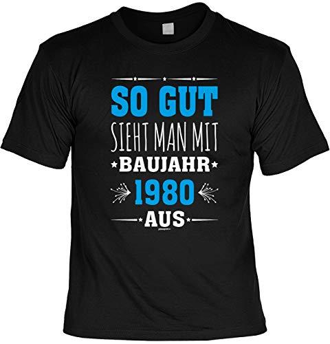 tolles T-Shirt zum 40. Geburtstag - Leiberl Geschenk zum 40 Geburtstag 40 Jahre Geburtstagsgeschenk 40-jähriger Papa So gut Sieht Man mit Baujahr 1980 aus Gr: L