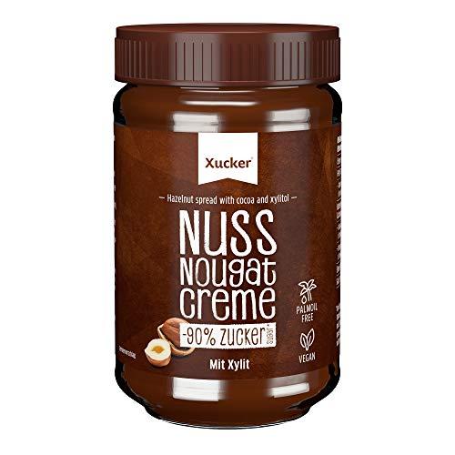 Xucker Nuss-Nugat Creme mit Xylit - Süße Haselnuss-Creme mit Xylitol Zucker-Ersatz ohne Palmöl I Vegan & zuckerarmer Brotaufstrich mit 33% Haselnüssen (300g)