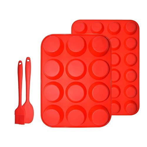 GAKIN Juego de moldes de silicona para magdalenas, mini magdalenas, sin BPA, color rojo, 2 unidades
