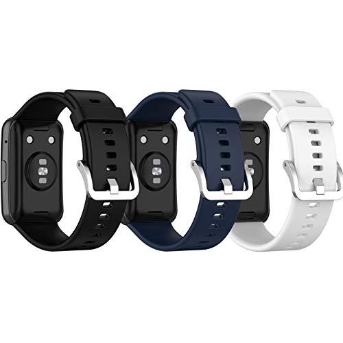 RuenTech Pack de 3 pulseras compatibles con Huawei Watch Fit, pulsera de repuesto de silicona deportiva para Huawei Watch Fit Smartwatch Trcaker 2020, accesorios (color 3-A)