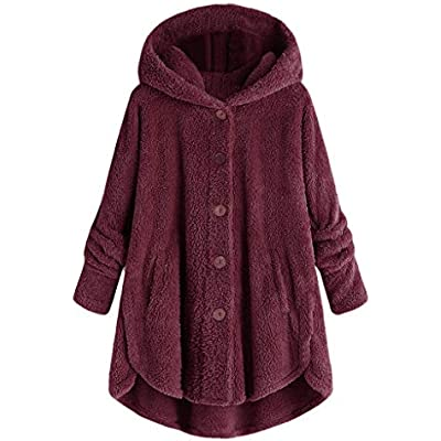 Womens Teddy Bear Coat,KaloryWee Fleece Hoodie Button Down Sweater Coat,Women Winter Hooded Pullover Sweatshirt Dress