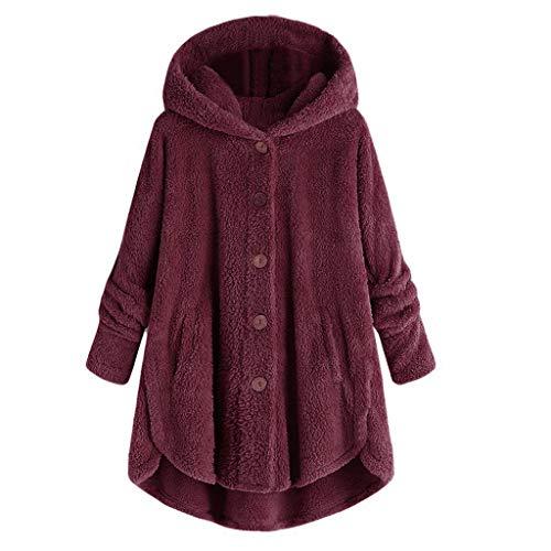 QingJiu Damen Winter Kapuzenmantel Einfarbiger Knopf Pullover Flauschiger Schwanz Strickjacken Lose Parka