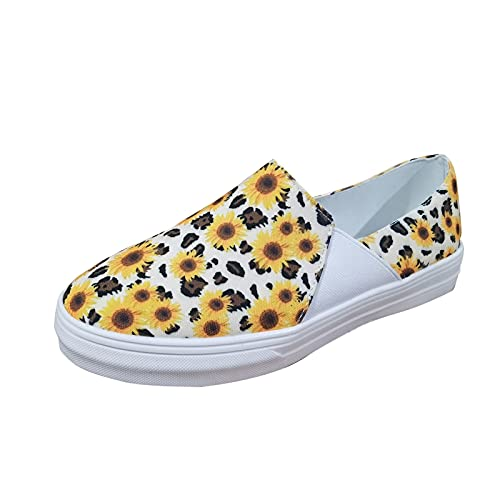 athletic sandals for women wide width sunflower leopard print flat set foot casual shoes black platform sandals fire and safety shoes simple beautiful breathable summer(Yellow,8.5)