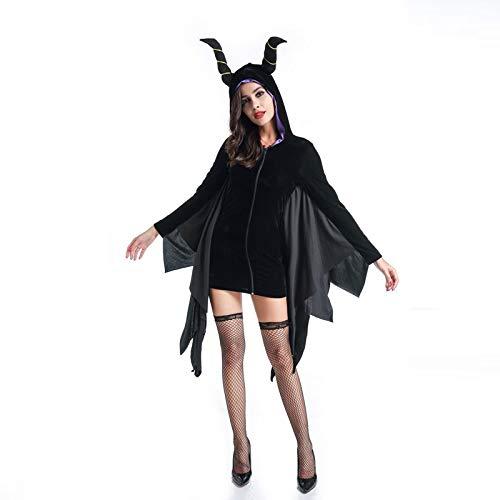 GBYAY para Mujer Vestido de Cuernos Negros con Sombrero con murciélago murciélago Fantasias Diguise Sudaderas con Capucha