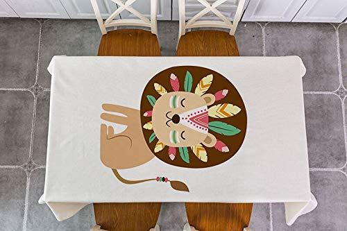 XXDD Mantel de decoración de Animales de Bosque Tribal Impermeable Rectangular decoración Mesa de té Mantel A9 135x160cm