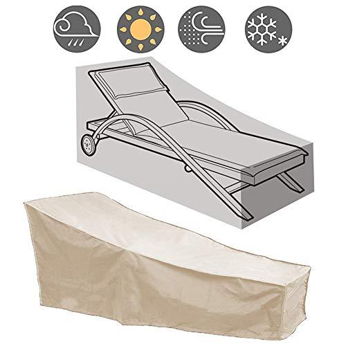 WSJMJ Cover Schutzhüllen für Liegen Abdeckung Liege Wasserfeste Abdeckhauben Schutzhülle, Winddicht,420D Oxford-Gewebe Schutzhülle für Sonnenliege, Deckchair, Liegestuhl,Beige