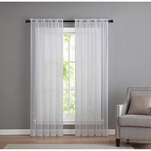 GoodGram 2 Pack: Basic Rod Pocket Sheer Voile Window Curtain Panels in White by (84 in. Long)