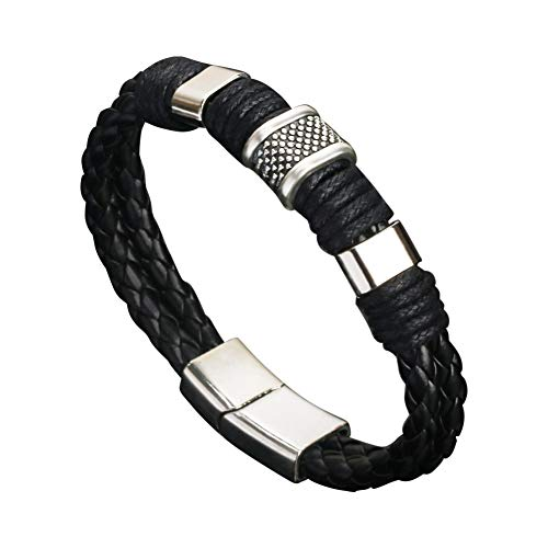 Uticon Bracelets, Fashion Mens Dual Layer Braided Faux Leather Magnetic Clasp Wrist Bracelet Gift - Black