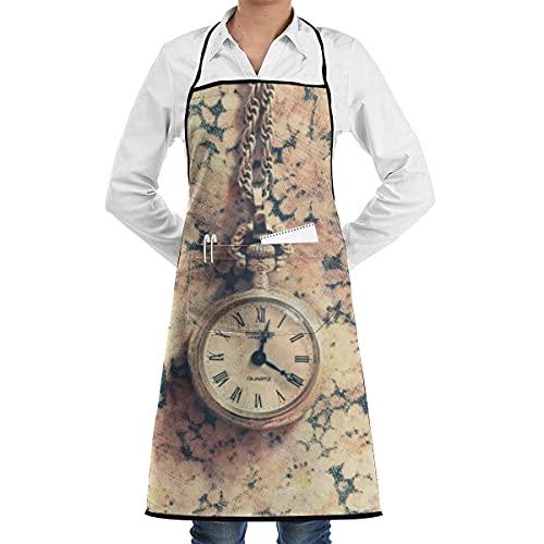 N\A Cocina Chef Babero Delantal Reloj de Pulsera Cuello Cintura Corbata Centro Canguro Bolsillo Impermeable