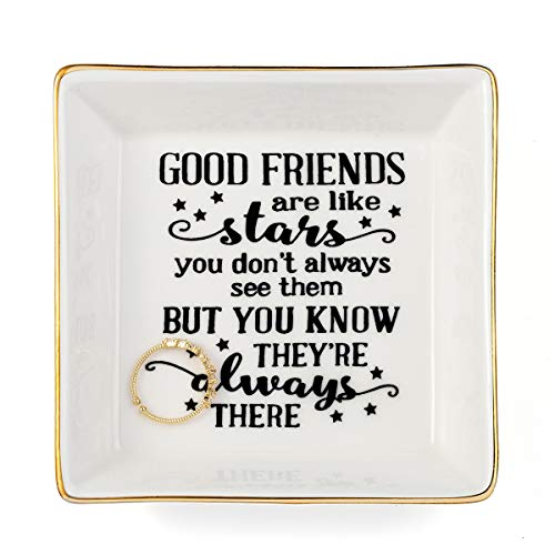Joycuff Friendship Gifts for Best Friend BFF Sister Marble Ceramic Ring Dish Jewelry Earring Trinket Tray Trinket Decorative Organizer with Golden Edged Home Decor