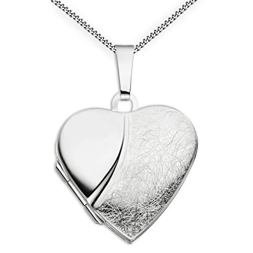 Medaillon Herz eismattiert mattiert verziert 925 Sterling Silber zum öffnen für Bildereinlage 2 Fotos Amulett + Kette mit Schmuck-Etui von Haus der Herzen®