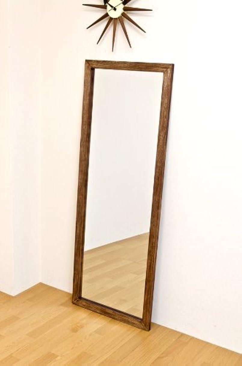収束するロースト塊ジャンボミラー アンティーク調 幅60cm×高さ160cm[ブラウン?茶]/転倒防止金具付属 大きい鏡