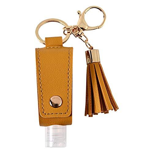 F Fityle Reise Flasche Keychain Halter mit 30ML Leere Nachfüllbare Flaschen Tragbare Schlüsselbund Flaschen Behälter für Flüssige Hand Sanitizer - Gelb
