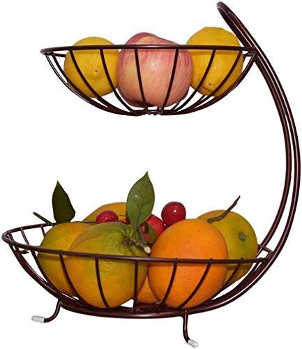 Plato de fruta Cesta Snack-Plate 2 Capa Frutero Hierro forjado soporte de exhibición encimera almacenaje del metal alambre cuenco de revestimiento del partido decoración del arte del Bronce ba