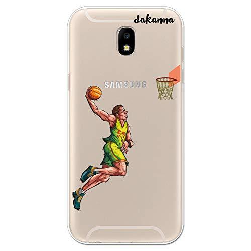 dakanna Funda para Samsung Galaxy J5 2017   Jugador de Baloncesto   Carcasa de Gel Silicona Flexible   Fondo Transparente