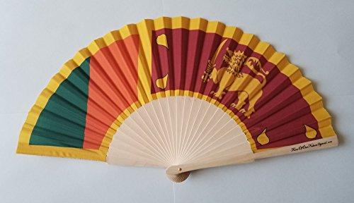Fans von Unsere Nation Sri Lanka Flagge Stoff Falten Hand Fan mit Bambus Handgriff