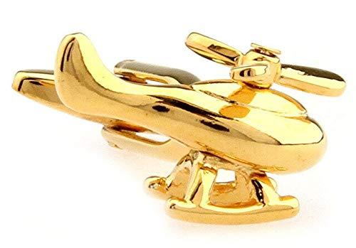 THNSIOE Mode Hubschrauber Styling Manschettenknöpfe Herren Manschettenknöpfe 5 Farben Flugzeug Manschettenknopf Für Herren Geschenke Manschettenknöpfe HellgelbGold Farbe