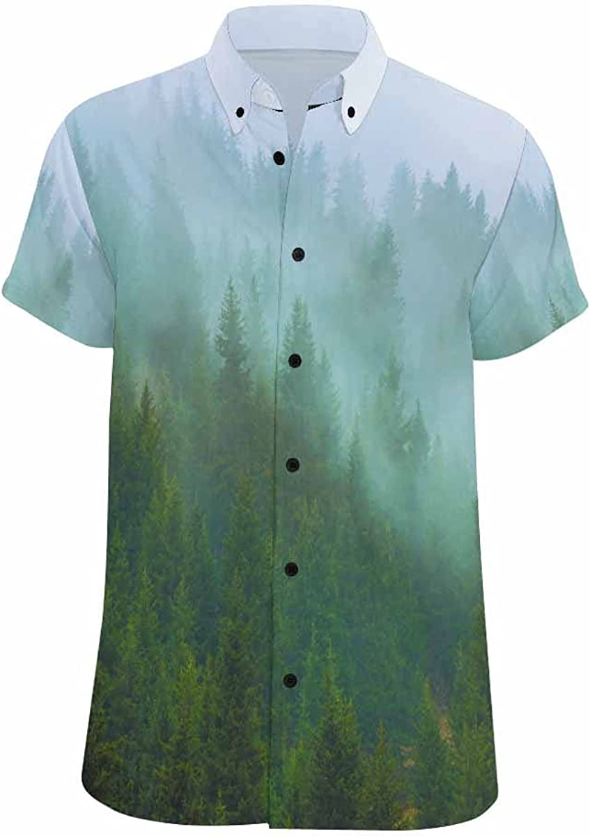 InterestPrint Fog Mountain Tree Men's 2021 autumn and winter new In stock Hawaiian Short Shirts Slee
