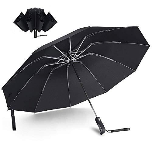 Taschenschirm Automatikschirm Regenschirm sturmfest wasserdicht umkehrbar automatisch windsicher superstabil leicht tragbar 118cm 10 Rippen 210T PG Teflon Beschichtung schwarz