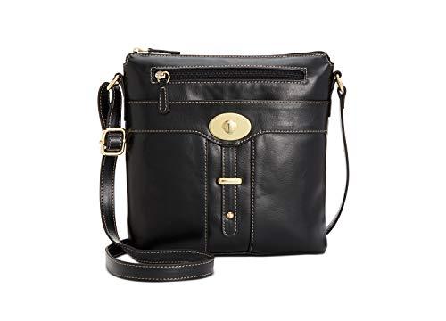 Giani Bernini women Glazed leather turn lock bucket shoulder bag black handbag